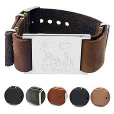 Tekening of handschrift graveren op leren armband - Soul Armband
