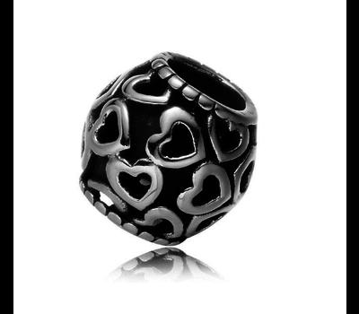 Bedels en Kralen Bedel harten zilverkleurig voor bedelarmbanden