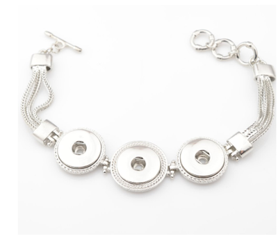 Clicks Sieraden Clicks armband drie click vintage zilverkleurig