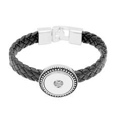 Clicks Sieraden Clicks armband leer zwart - gevlochten