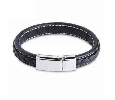 Armband met Naam Leren armband graveren met naam - zwart