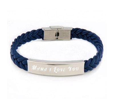 Armband met Naam Leren armband graveren blauw
