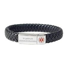 Medische alert armband Medische armband zwart leer gevlochten