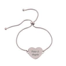 Armband met Naam Slide hart armband graveren zilverkleurig