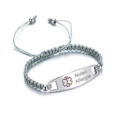 Medische alert armband Medische Armband Grijs - Gevlochten Touw