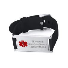 Medische alert armband Medische Armband Zwart Groot
