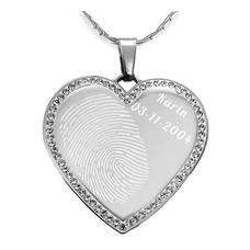 Vingerafdruk sieraad Vingerafdruk sieraad hart crystals zilverkleurig