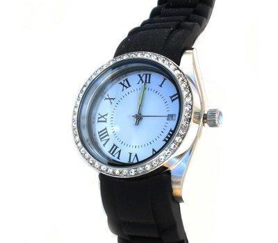 Floating locket Twist rvs zilverkleurige memory locket horloge zwart