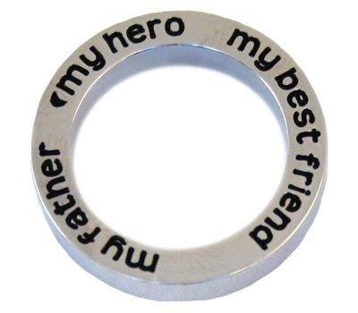 Floating locket  discs Memory locket open disk my father my hero zilverkleurig large