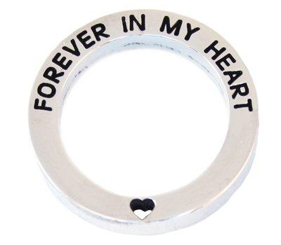 Floating locket  discs Memory locket open disk forever in my heart zilverkleurig large