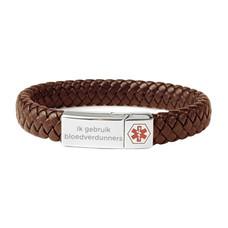 Medische alert armband Medische armband bruin leer gevlochten