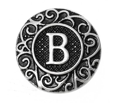Clicks en Chunks | Click letter B zilverkleurig voor clicks sieraden
