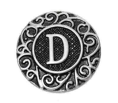 Clicks en Chunks | Click letter D zilverkleurig voor clicks sieraden