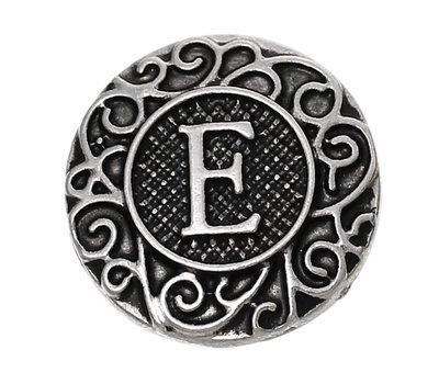 Clicks en Chunks | Click letter E zilverkleurig voor clicks sieraden