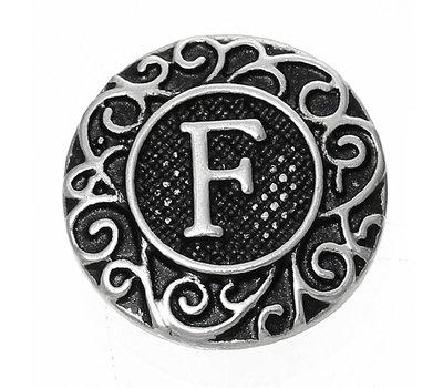 Clicks en Chunks | Click letter F zilverkleurig voor clicks sieraden