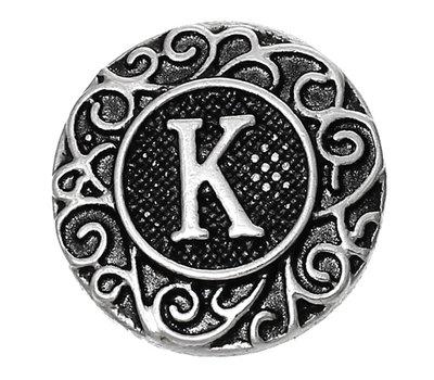 Clicks en Chunks | Click letter K zilverkleurig voor clicks sieraden
