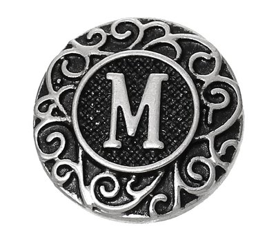 Clicks en Chunks | Click letter M zilverkleurig voor clicks sieraden