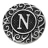 Clicks en Chunks | Click letter N zilverkleurig voor clicks sieraden