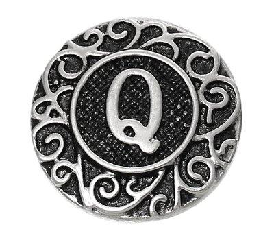Clicks en Chunks | Click letter Q zilverkleurig voor clicks sieraden