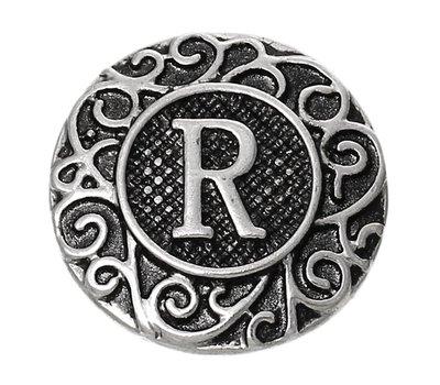 Clicks en Chunks | Click letter R zilverkleurig voor clicks sieraden