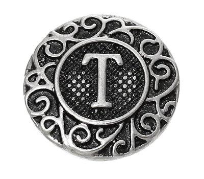 Clicks en Chunks | Click letter T zilverkleurig voor clicks sieraden