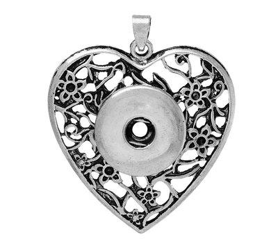 Clicks Sieraden Clicks hanger hart antiek zilverkleurig
