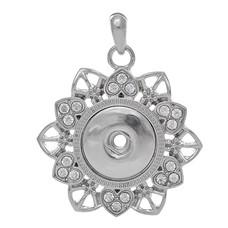 Clicks Sieraden Clicks hanger bloem met crystals zilverkleurig