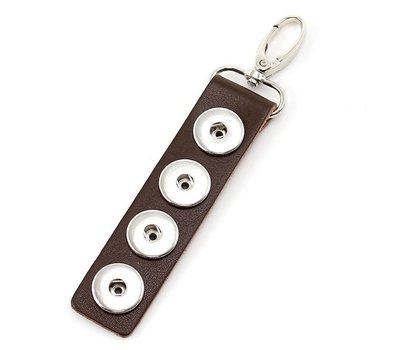 Clicks Sieraden Clicks sleutelhanger leer donker bruin