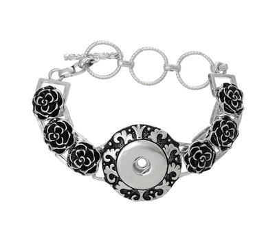 Clicks Sieraden Clicks armband bloem zilverkleurig