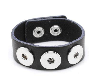 Clicks Sieraden Clicks armband leer zwart