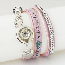Clicks Sieraden Clicks armband leer paars live love laugh
