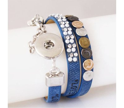 Clicks Sieraden Clicks armband leer blauw love hope happiness