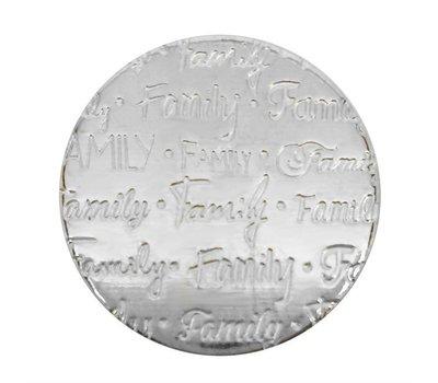 Floating locket  discs Memory locket disk family handgeschreven large zilverkleurig