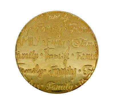 Floating locket  discs Memory locket disk family handgeschreven large goudkleurig