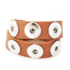 Clicks Sieraden Clicks armband nubuck leer dubbel bruin