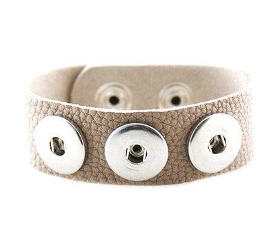 Clicks Sieraden Clicks armband lnubuck leer grijs/beige