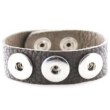 Clicks Sieraden Clicks armband nubuck leer grijs