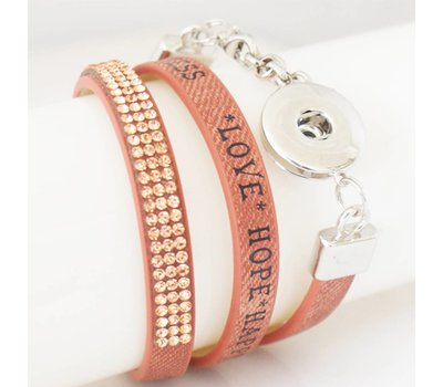 Clicks Sieraden Clicks armband leer bruin love hope happiness