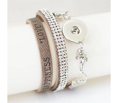 Clicks Sieraden Clicks armband leer beige love hope happiness