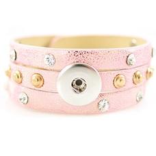 Clicks Sieraden Clicks armband leer roze met crystals en studs