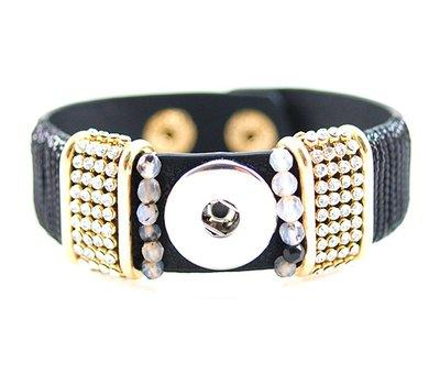 Clicks Sieraden Clicks armband loveley zwart met strass