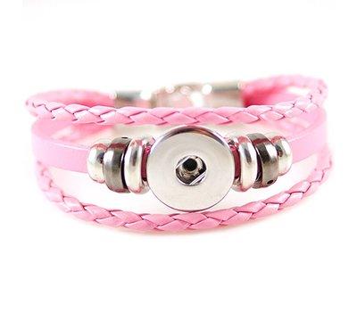 Clicks Sieraden Clicks armband leer roze triple