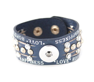 Clicks Sieraden Clicks armband leer donker blauw love hope happiness breed