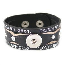 Clicks Sieraden Clicks armband leer zwart love hope happiness wave