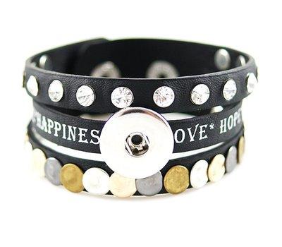 Clicks Sieraden Clicks armband leer zwart love hope happiness breed