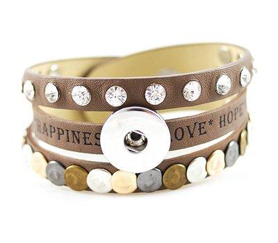 Clicks Sieraden Clicks armband leer bruin love hope happiness breed
