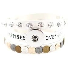 Clicks Sieraden Clicks armband leer wit love hope happiness breed