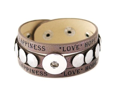 Clicks Sieraden Clicks armband leer bruin studs love hope happiness breed