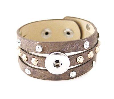 Clicks Sieraden Clicks armband leer bruin studs en strass breed