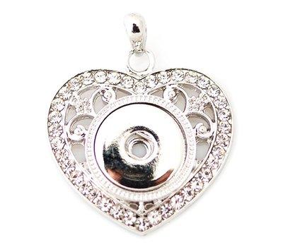 Clicks Sieraden Clicks hanger crystal heart zilverkleurig